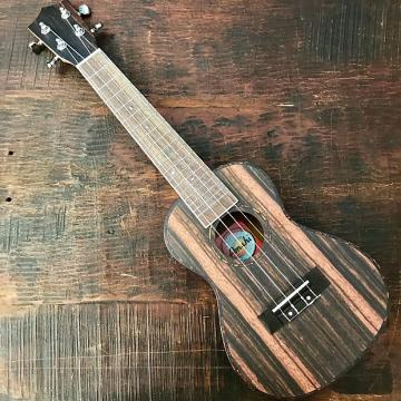 Custom Amahi Classic Ebony Concert Ukulele w/ 10mm Padded Bag and Leather Pick