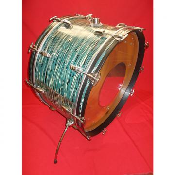 """Custom Vintage 1970s Ludwig 26"""" Oyster Blue Pearl 3-Ply Bass Drum"""