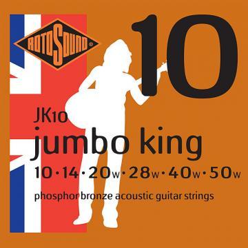 Custom Rotosound JK10 Jumbo King Phosphor Bronze Acoustic Guitar Strings 10-50