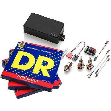 Custom EMG 60 Active Humbucker, Black LONG SHAFT Pots, 3 sets DR Pure Blues 10-46