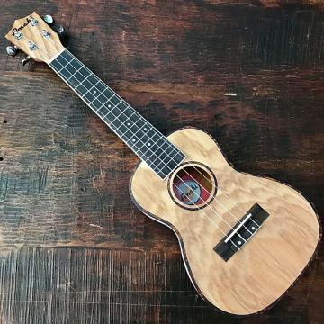 Custom Amahi Classic Quilted Ash Concert Ukulele w/ 10mm Padded Bag and Leather Pick