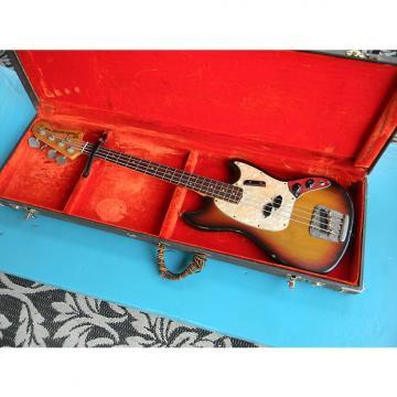 Custom 1972 Fender Mustang Bass Sunburst Finish Rosewood Fingerboard With Rough Original Case Short Scale