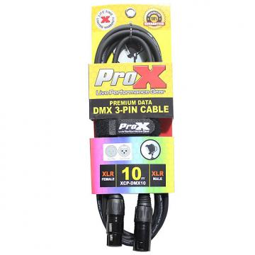 Custom ProX XCP-DMX10 3-Pin DMX Cable Tour-Grade Professional High Performance 10 ft