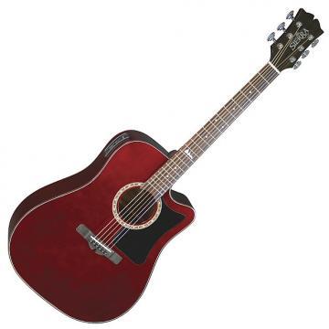 Custom Sierra SD35CEWR Alpine Dreadnought Acoustic-Electric Guitar - Wine Red
