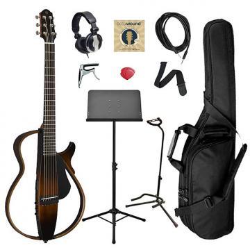 Custom Yamaha SLG200S Steel String Silent Guitar Bundle - Brown Sunburst