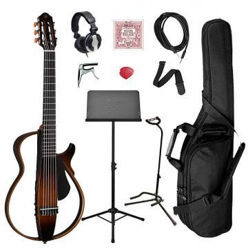 Custom Yamaha SLG200N Classical Silent Guitar Bundle - Brown Sunburst