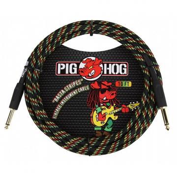Custom Pig Hog PCH10RA Rasta Stripes Instrument Cable 10 Ft