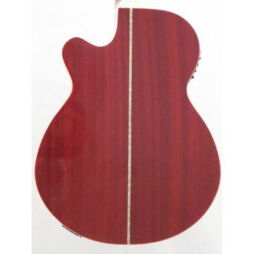 Oscar Schmidt OG10CEFTR Flame Transparent Red Electric Acoustic Guitar