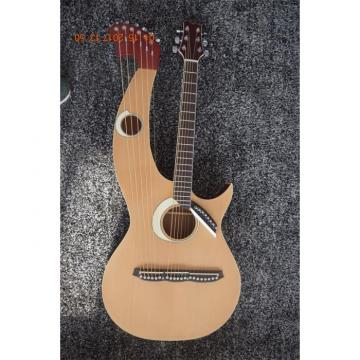 Custom Made Natural Finish Double Neck Harp Acoustic Guitar In Stock