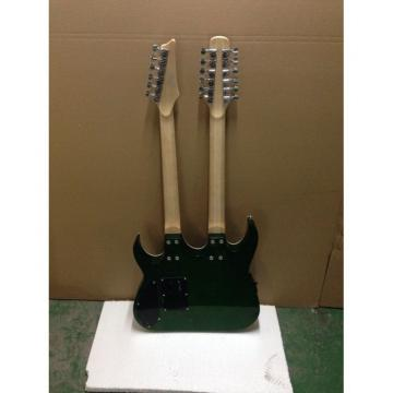 Custom Ibanez JEM 7V Green Double Neck Acoustic Electric 6 12 Strings Guitar