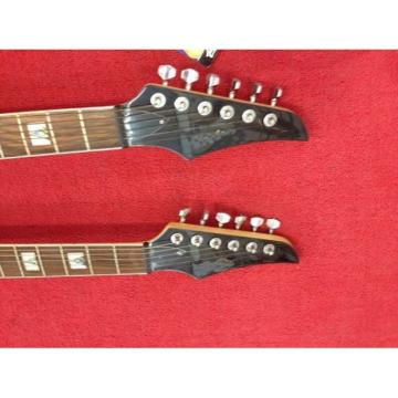 Custom Ibanez JEM 7V Sunburst Double Neck Acoustic Electric 6 6 Strings Guitar