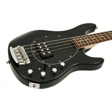 NEW STERLING MODEL SB14-BK BLACK GLOSS 4 STRING ELECTRIC BASS GUITAR BUNDLE #1