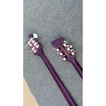 Custom Shop Double Neck Rickenbacker Purpleglo 4003 4 String Bass 12 String Guitar