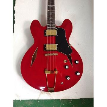Custom Shop Fhole Red Midtown Standard 4 String Semi Hollow Bass
