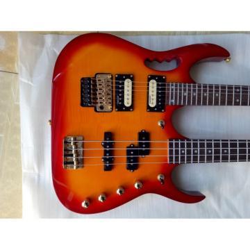Custom Made 4 String Bass 6 String Guitar Double Neck Cherry Sunburst