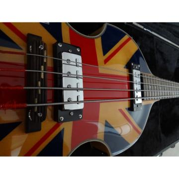 Custom Left Handed Hofner Jubilee Union Jack Paul Mcartney 4 String Bass Guitar