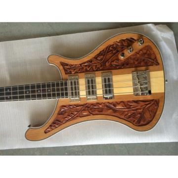 Custom Lemmy Kilmister  Rickenbacker 4003 Natural Alder Wood Special Carvings Bass