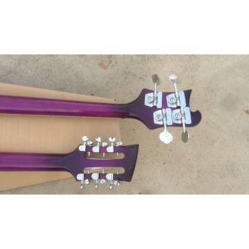 custom Double Neck Rickenbacker Purple 4 String Bass 12 String Guitar