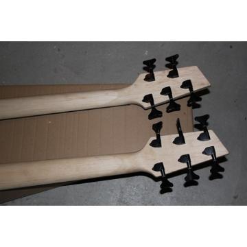 Custom Double Neck Black 5 6 Strings Bass