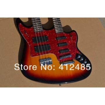 Custom Built Double Neck Fender Jaguar Sunburst 4 String Bass 6 String Guitar