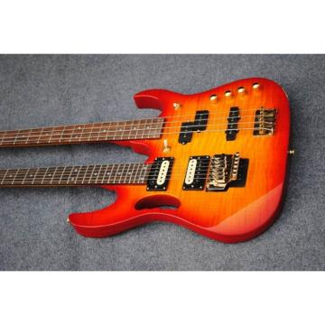 Custom Built 4 String Bass 6 String Guitar Double Neck Cherry Sunburst