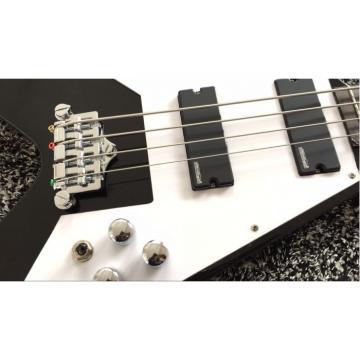 Custom Black guitarra Flying V 120 4 String Bass Hard Case With Logo