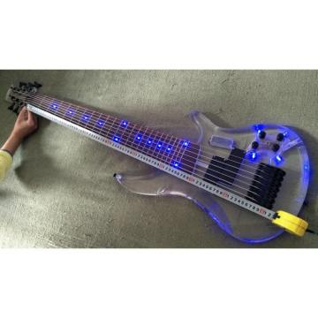 Custom Made H&S Sequoia 7 String Acrylic Bass Blue LED Light Fretboard