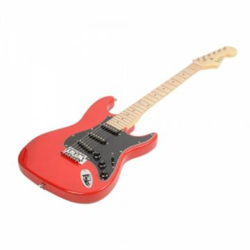 ST Black Pickguard Electric Guitar Red with Amplifier Bag Strap Tool Pick