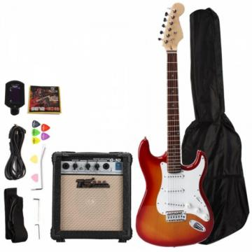 Rosewood Fingerboard Electric Guitar with Amp Turner Bag & Accessories Sunset Red