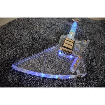 Project German Material Acrylic Body and Neck Explorer Electric Guitar With Led Lights