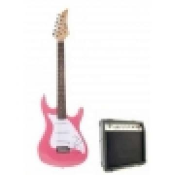 Metallic Pink Electric Guitar with 10Watt Amp Package