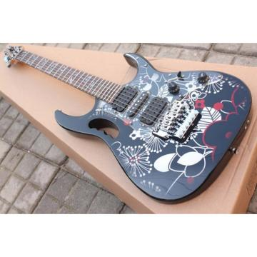 Ibanez Black Flower JEM 7V Vai Electric Guitar