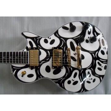 Custom Shop Skull Print Black LP Electric Guitar