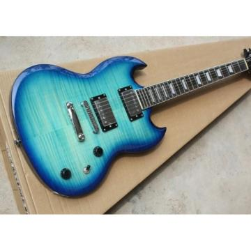 Custom Shop SG Blue Tiger Maple 6 String Electric Guitar