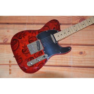 Custom Shop Red Reissue Paisley Telecaster Electric Guitar Floral