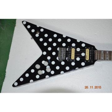 Custom Shop GMW Polka Dot Flying V Electric Guitar Black and White Randy Rhoads
