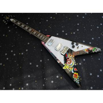 Custom Shop Flower Jimi Hendrix Flying V Electric Guitar