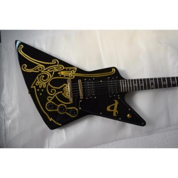 Custom Shop Explorer Electric Black Gold Painting Electric Guitar