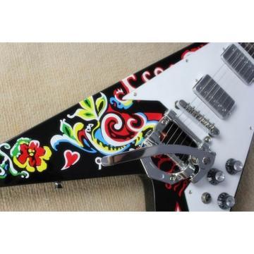 Custom Shop Black Flower Jimi Hendrix Flying V Electric Guitar Bigsby Tremolo