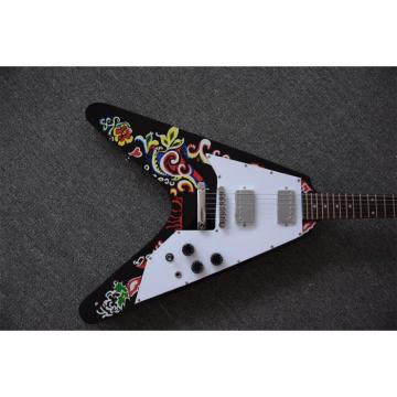 Custom Shop Black Flower Jimi Hendrix Flying V Electric Guitar