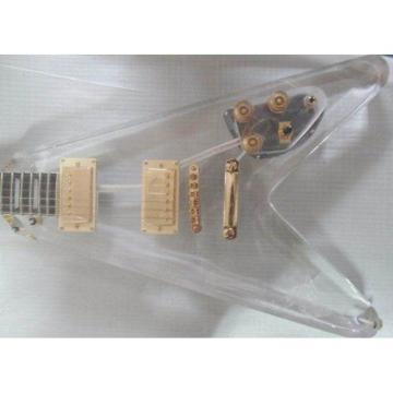 Custom Shop Acrylic guitarra Flying V Electric Guitar