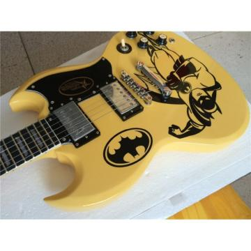 Custom SG Angus Young Batman Cream Finish Electric Guitar