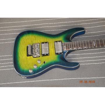 Custom Schecter Hell Raiser Diamond Green Quilted Electric Guitar