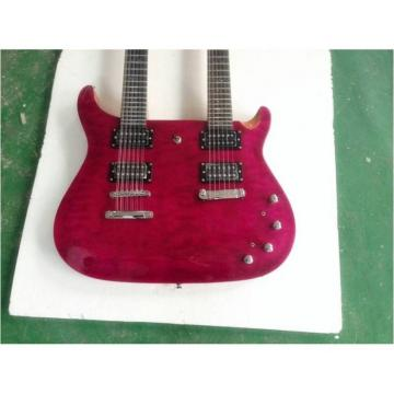 Custom PRS Double Neck Electric Guitar Purple Flame Maple Top