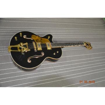 Custom Left Handed Gretsch Falcon Black Gold Pickuguard Electric Guitar