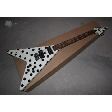 Custom GMW Polka Dot Flying V Electric Guitar Black and White Randy Rhoads