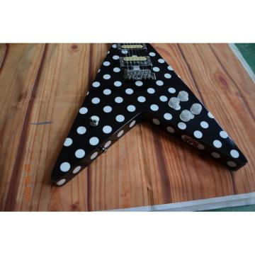 Custom Built GMW Polka Dot Flying V Electric Guitar Black and White Randy Rhoads