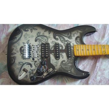 Custom Black Paisley American Fender Flower Electric Guitar