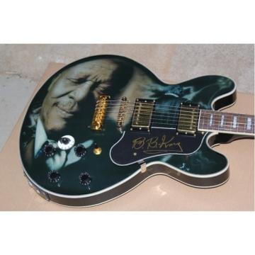 Custom  B B King Print Lucille Electric Jazz Black Guitar