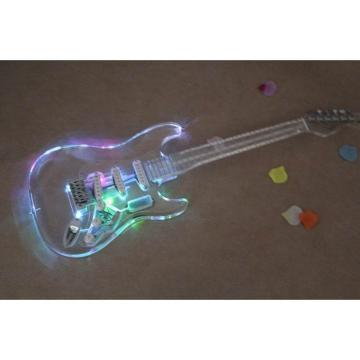 Crystal Stratocaster Red Pink Led Light Plexiglass Body and Neck Acrylic Electric Guitar